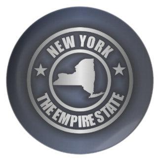 "Placa decorativa de acero de ""Nueva York"" (azul) Platos De Comidas"