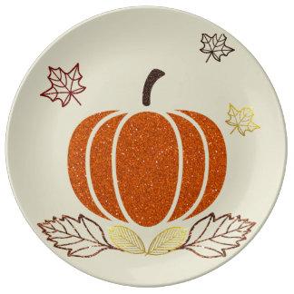 Placa decorativa de la calabaza del brillo plato de cerámica