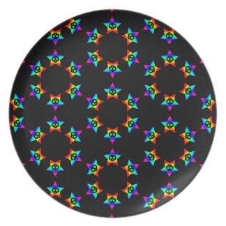 Placa decorativa de la estrella de los cráneos neg plato