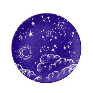 """Placa decorativa de la """"luna y de las estrellas"""" plato de cerámica"""