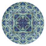 Placa decorativa de la mandala de la tierra azul y plato de comida
