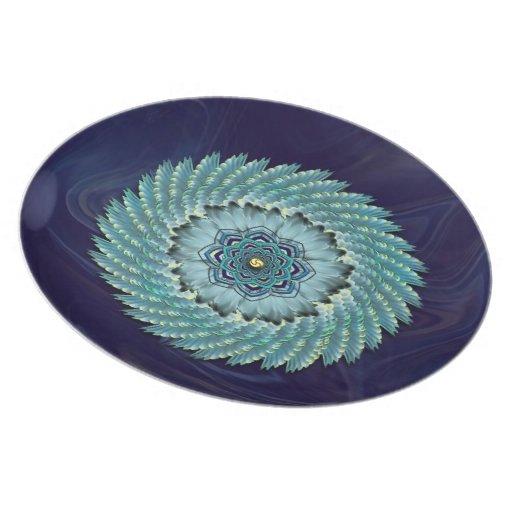 Placa decorativa de la mandala de Lotus del ala Platos De Comidas