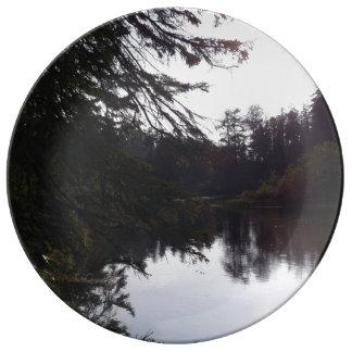 Placa decorativa de la porcelana de la reflexión plato de cerámica