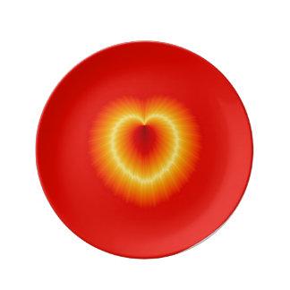 Placa decorativa de la porcelana del corazón de plato de cerámica