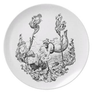 Placa decorativa de la sirena blanco y negro plato