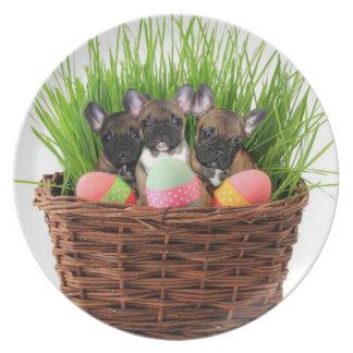 Placa decorativa de los dogos franceses de Pascua Platos