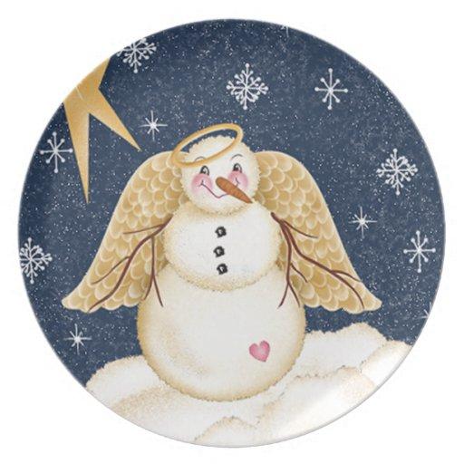 Placa decorativa del ángel del muñeco de nieve fel plato de cena