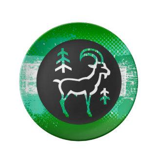 Placa decorativa del aries del zodiaco, platos de cerámica