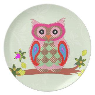 Placa decorativa del arte colorido del remiendo de plato