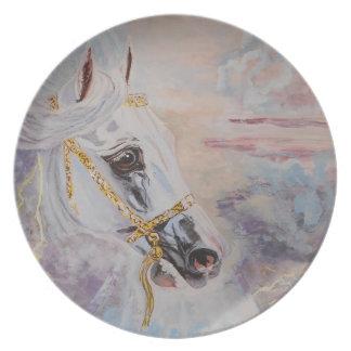 Placa decorativa del caballo árabe platos de comidas