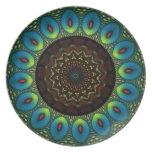 Placa decorativa del caleidoscopio de la pluma del platos para fiestas
