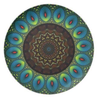 Placa decorativa del caleidoscopio de la pluma del plato de cena