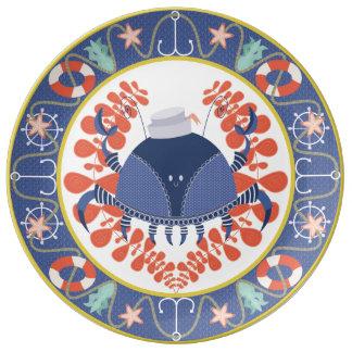 Placa decorativa del cangrejo del marinero plato de cerámica