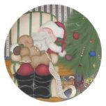 Placa decorativa del día de fiesta del navidad soñ platos de comidas