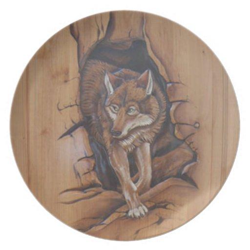 Placa decorativa del lobo platos