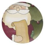 Placa decorativa del navidad de la lista de Santa Plato De Cena
