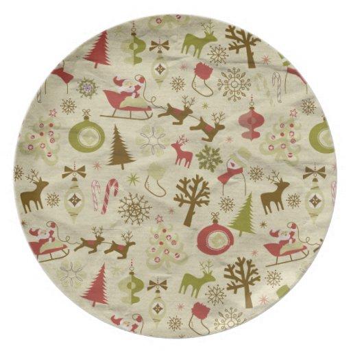 Placa decorativa del navidad platos de comidas