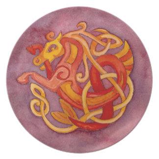 Placa decorativa del nudo céltico del caballo plato para fiesta