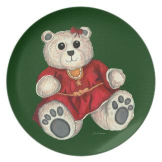 Placa decorativa del oso de peluche del chica del  plato para fiesta