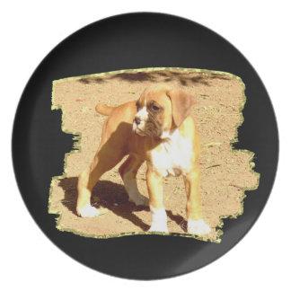 Placa decorativa del perrito del boxeador plato de cena