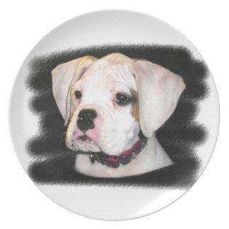 Placa decorativa del perrito del boxeador platos de comidas