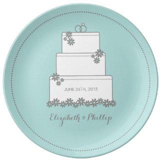 Placa decorativa del regalo del pastel de bodas - plato de cerámica