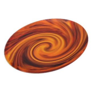Placa decorativa del remolino del fuego plato de cena