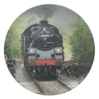 Placa decorativa del tren del vapor plato de comida