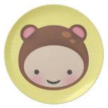Placa decorativa dulce del oso de Chibi Brown Plato De Cena