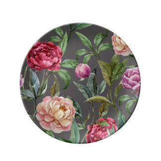 Placa decorativa floral bohemia de la porcelana plato de cerámica