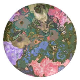 Placa decorativa floral de la melamina plato de cena