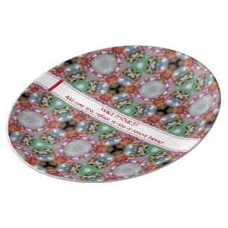 Placa decorativa modelada diversión brillante de platos de cerámica