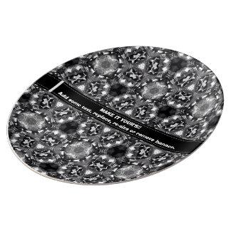 Placa decorativa negra y blanco modelada de la platos de cerámica