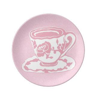 Placa decorativa rosa clara de la porcelana de la platos de cerámica