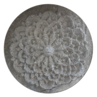 Placa decorativa tallada mandala de la fotografía plato de cena