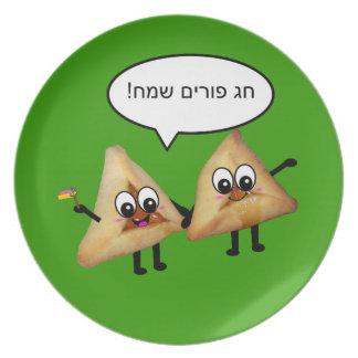 Placa del אוזניהמןפורים de Purim Sameach - verde Platos Para Fiestas