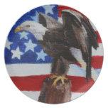 Placa del aceo de Eagle de la libertad Plato Para Fiesta