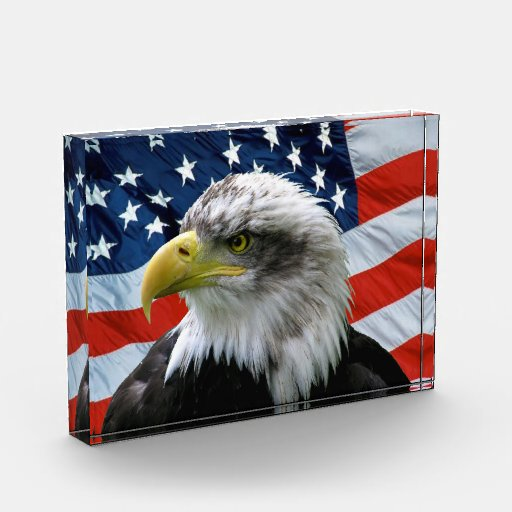 Placa del acrílico de la bandera americana de Eagl