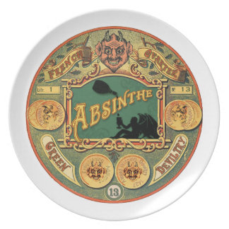Placa del ajenjo - estilo del Victorian del vintag Plato De Comida
