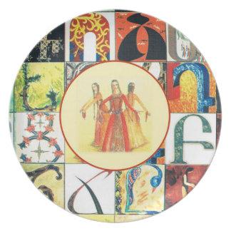 Placa del alfabeto armenio plato
