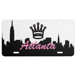 Placa del aluminio de Atlanta de la corona Placa De Matrícula