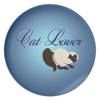 Placa del amante del gato plato para fiesta