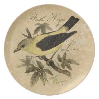 Placa del amor de la esperanza de la fe del pájaro plato para fiesta