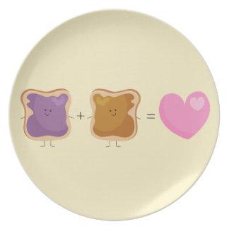 Placa del amor de la mantequilla y de la jalea de  plato de comida