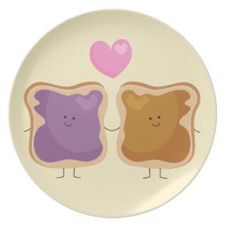 Placa del amor de la mantequilla y de la jalea de  platos