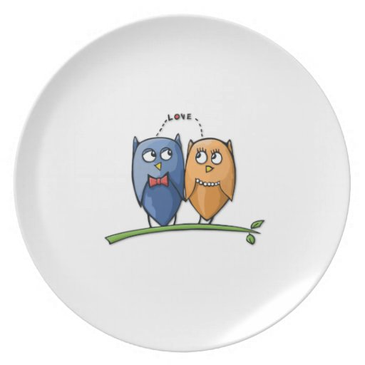 Placa del amor del búho plato de comida