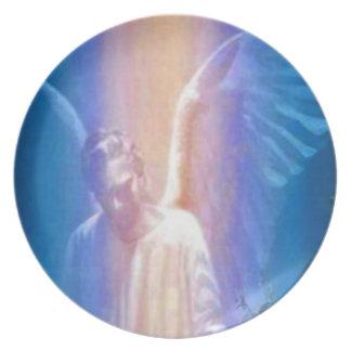 Placa del ángel de guarda plato de cena