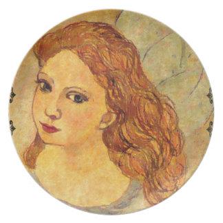 Placa del ángel del Victorian por el villancico Plato