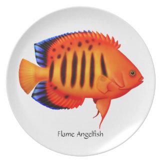 Placa del Angelfish de la llama del filón Plato Para Fiesta