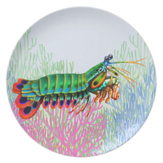 Placa del animal del filón del camarón de plato para fiesta